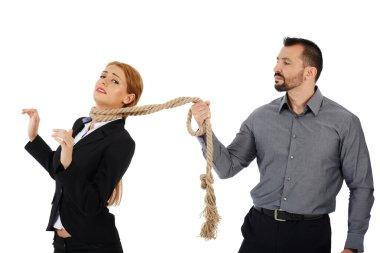 boss holding his female employee