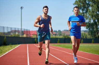 Two friends running