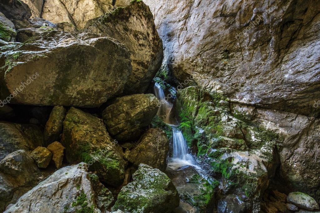 Underground river and waterfall