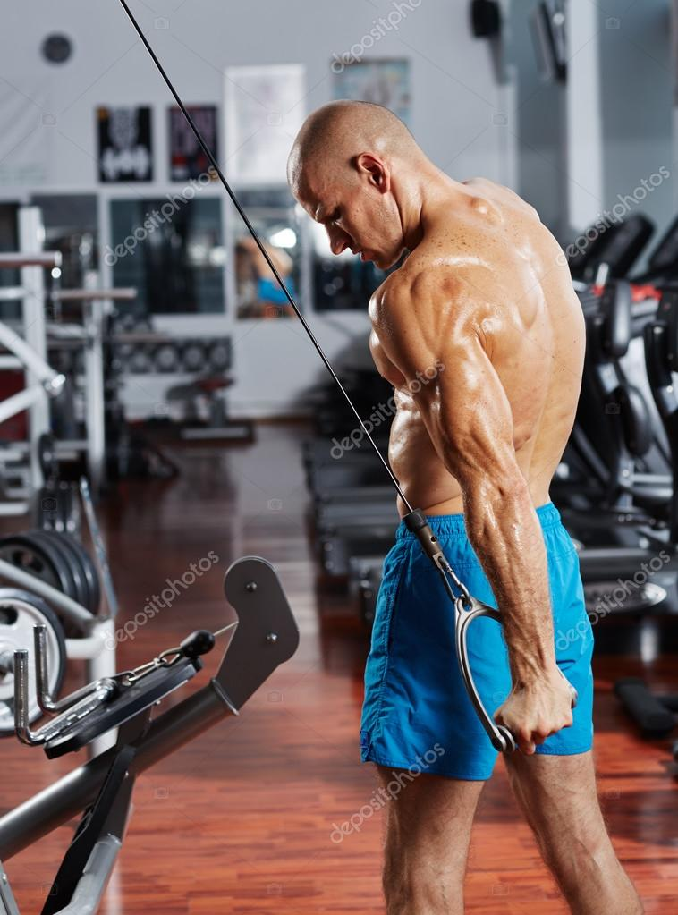 Bodybuilder Doing A Triceps Workout Stock Photo