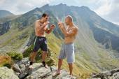 Photo fighters training in the mountains