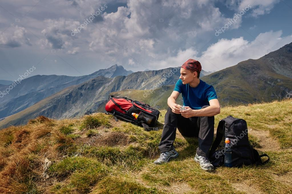 Teenager hiker on trail