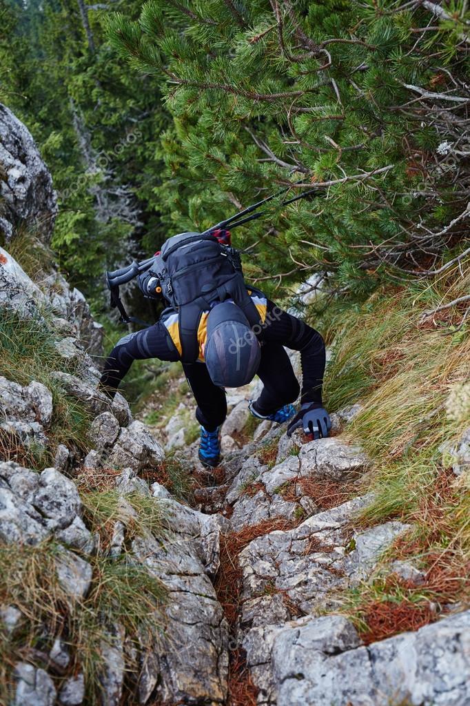 Hiker man climbing