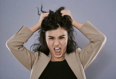 Angry businesswoman portrait