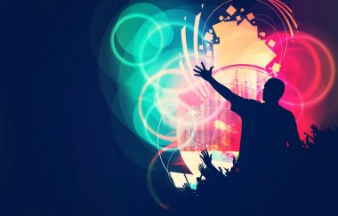 Music event illustration, celebration concept stock vector