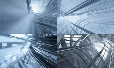 Set of blue steel backgrounds