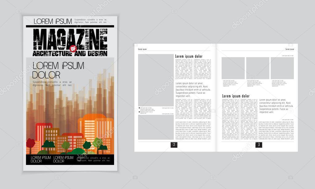 Architecture Magazine Layout Mockup And Cover Template, Vector Illustration  U2014 Vector By Zeber2010