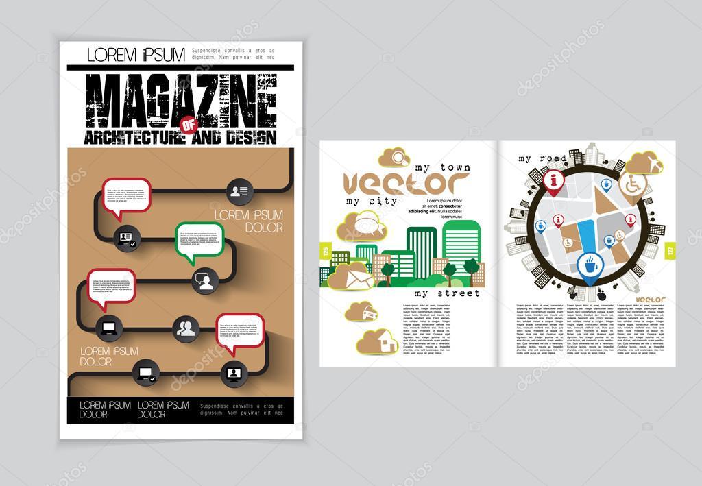 Architektur-Magazin-layout — Stockvektor © zeber2010 #60845131