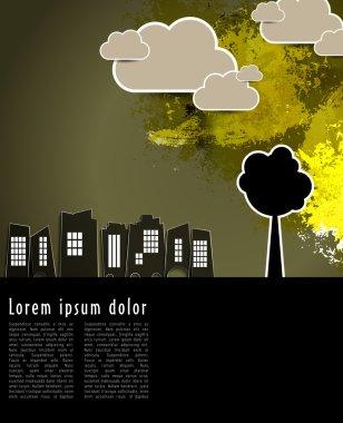 """Картина, постер, плакат, фотообои """"городской пейзаж с силуэтом деревьев """", артикул 61549747"""