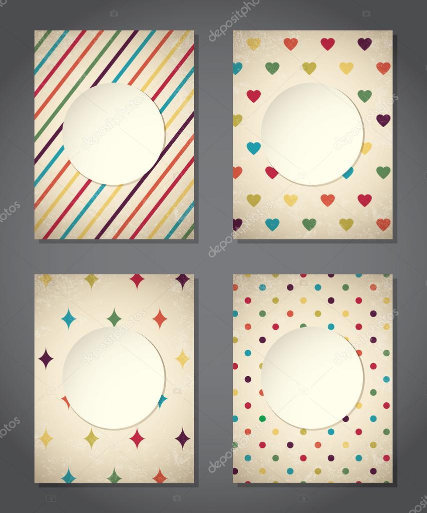 Colorful Set Of Vintage Cute Backgrounds Vector By Klauts