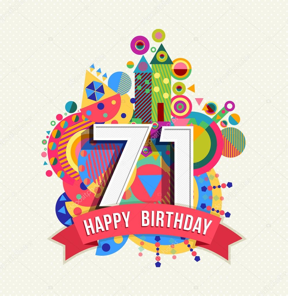 Happy birthday 71 year greeting card poster color — Stock Vector