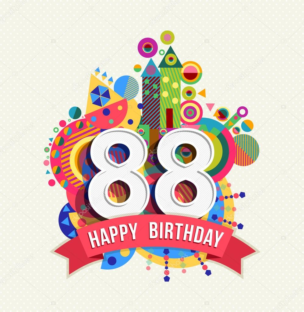 Happy birthday 88 year greeting card poster color — Stock Vector