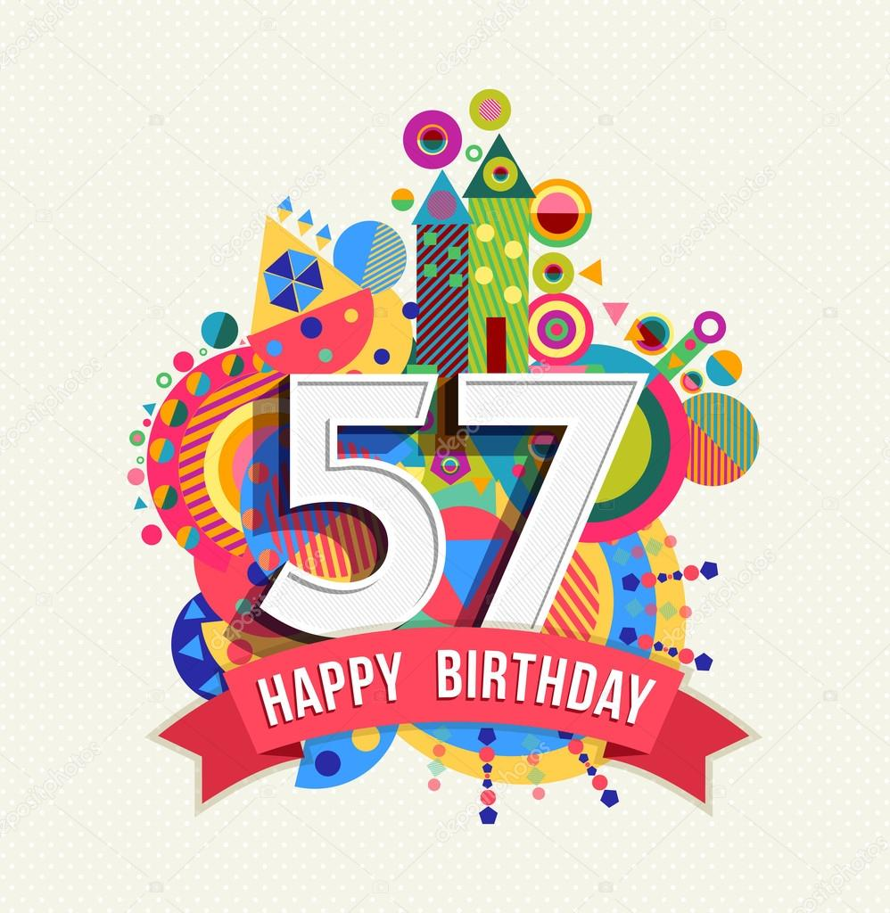 Happy birthday 57 year greeting card poster color — Stock Vector