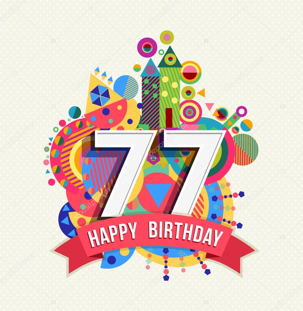 Happy Birthday 77 Year Greeting Card Poster Color Stockillustration