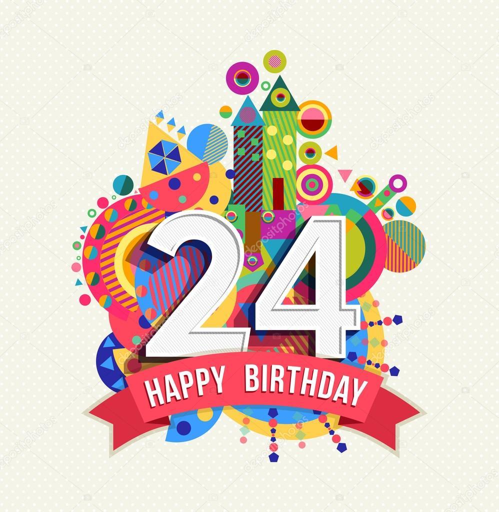 Joyeux Anniversaire Carte De Voeux 24 Ans Affiche Couleur Image
