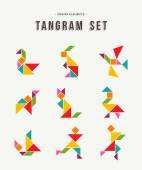 Fotografia Tangram impostare arte creativa di forme di animali colorate
