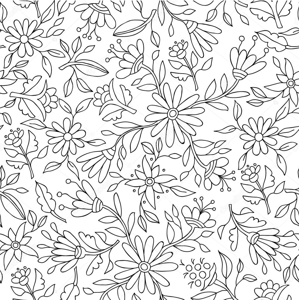 Flower background in black and white for coloring stok vektr floral spring pattern background in black and white with flower outlines and nature elements ideal for adult coloring book eps10 vector mightylinksfo