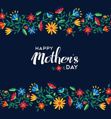 Happy mothers day retro floral pattern background