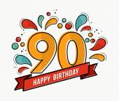 Fotografie Colorful happy birthday number 90 flat line design
