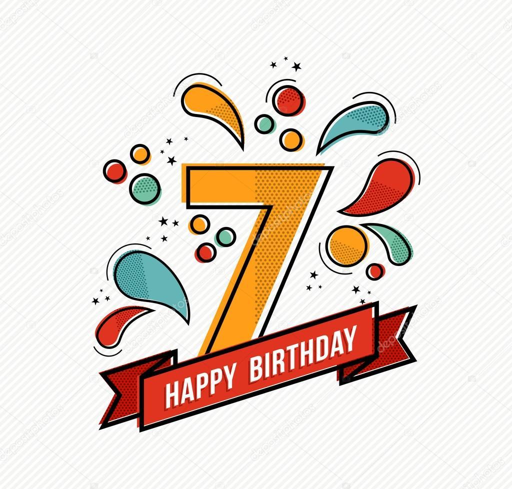 Fabuloso Diseño de línea plana colorido feliz cumpleaños número 7 — Archivo  RK28