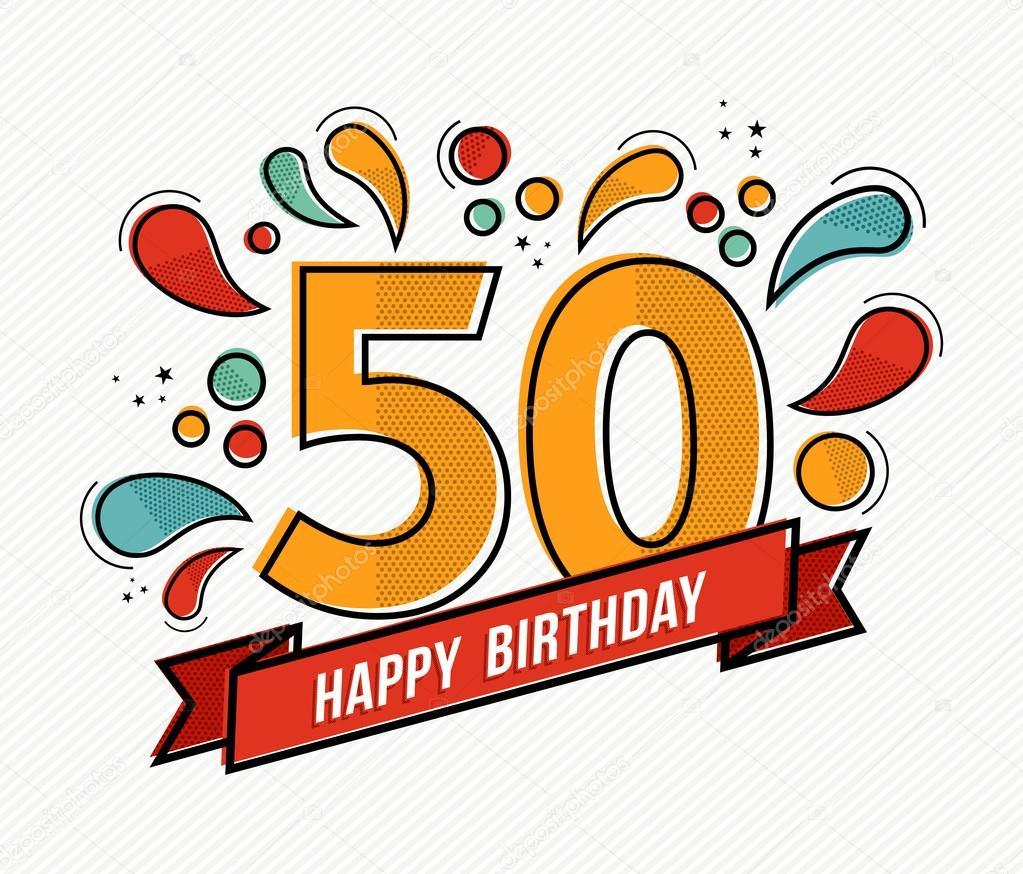 Diseño de línea plana de colores feliz cumpleaños número 50 ...