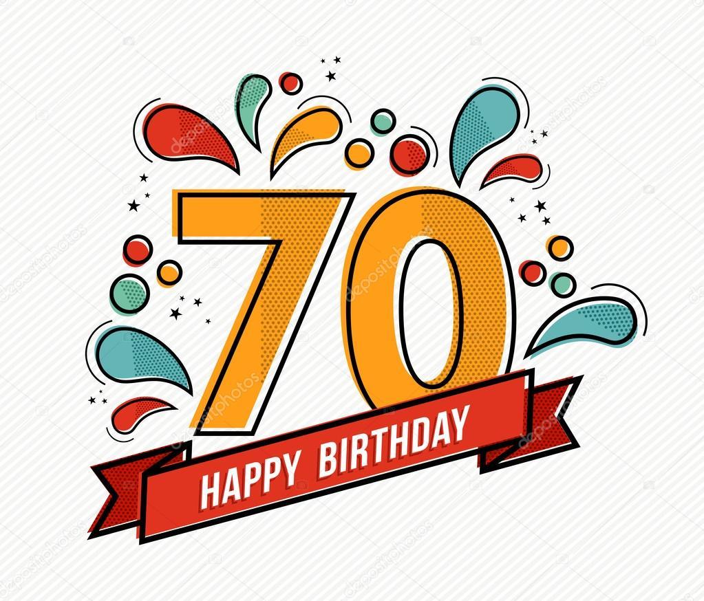 Diseño de línea plana de colores feliz cumpleaños número 70 — Vector ...
