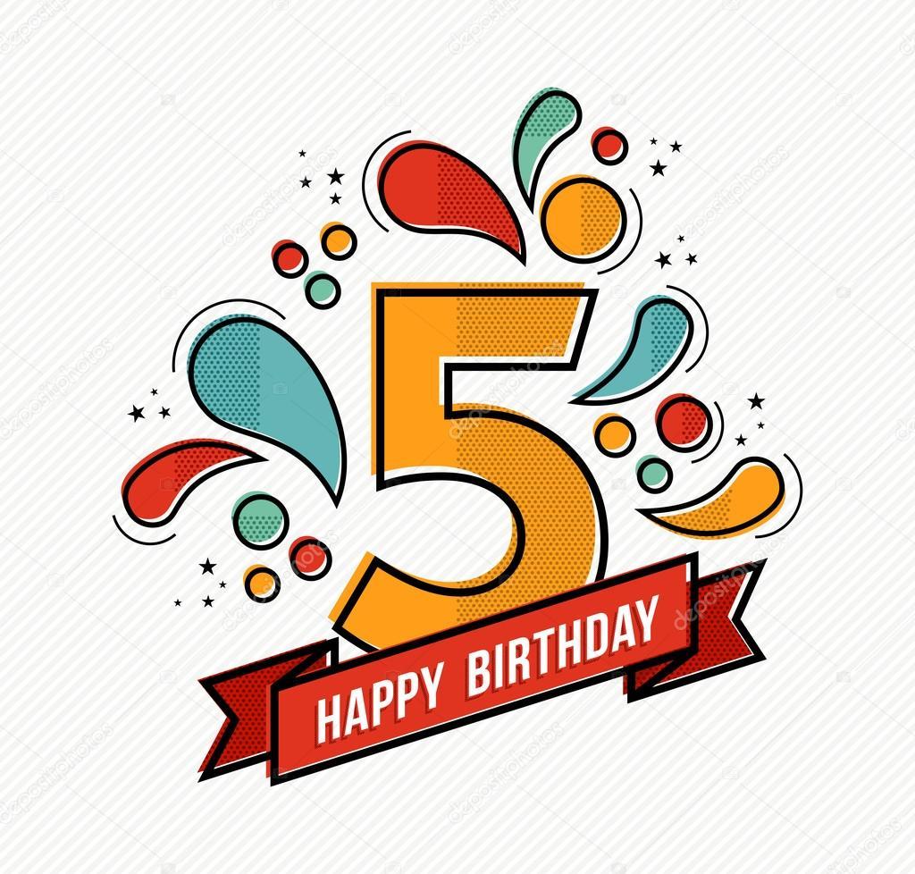 Diseño de línea plana de colores feliz cumpleaños número 5 — Archivo ...