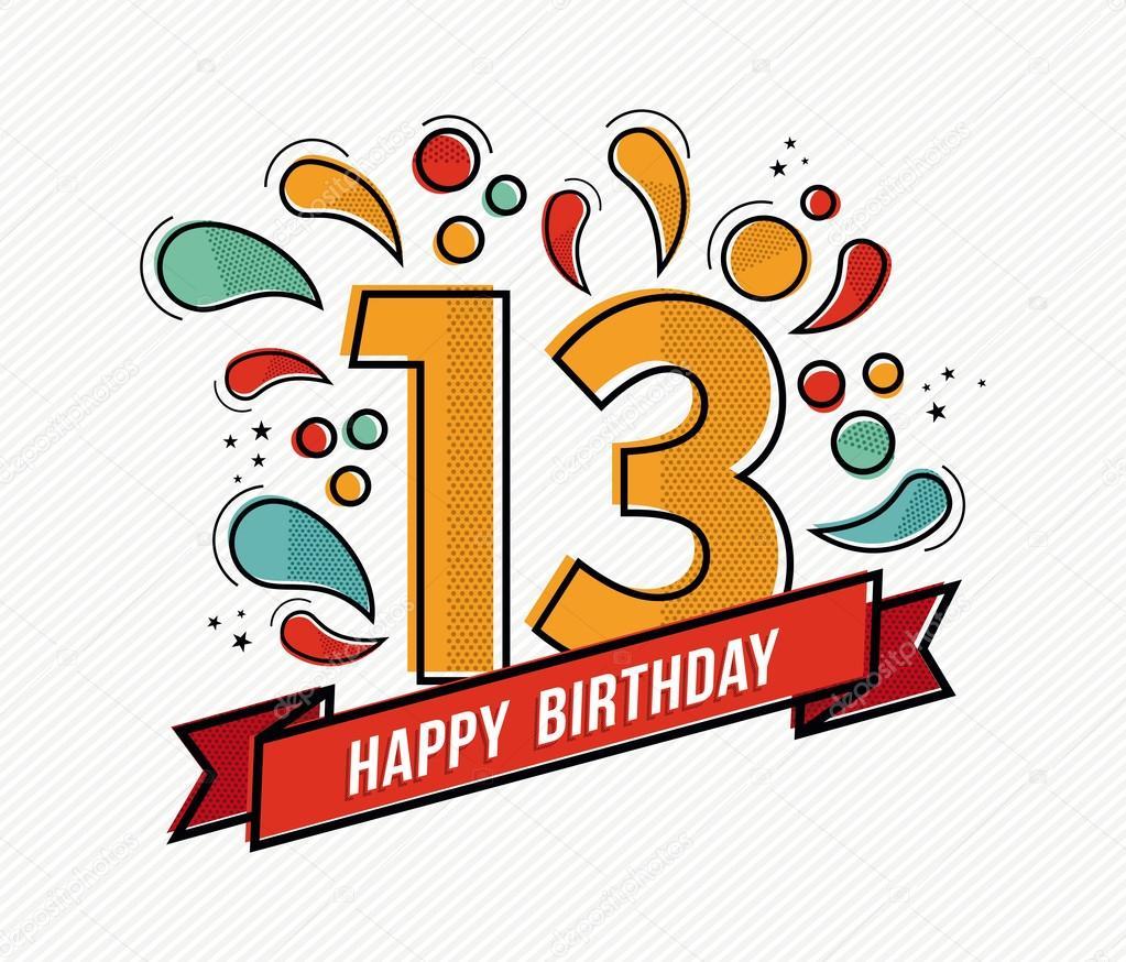 pozvánka na 13 narozeniny Barevné Veselé narozeniny číslo 13 rovné linie designu — Stock  pozvánka na 13 narozeniny