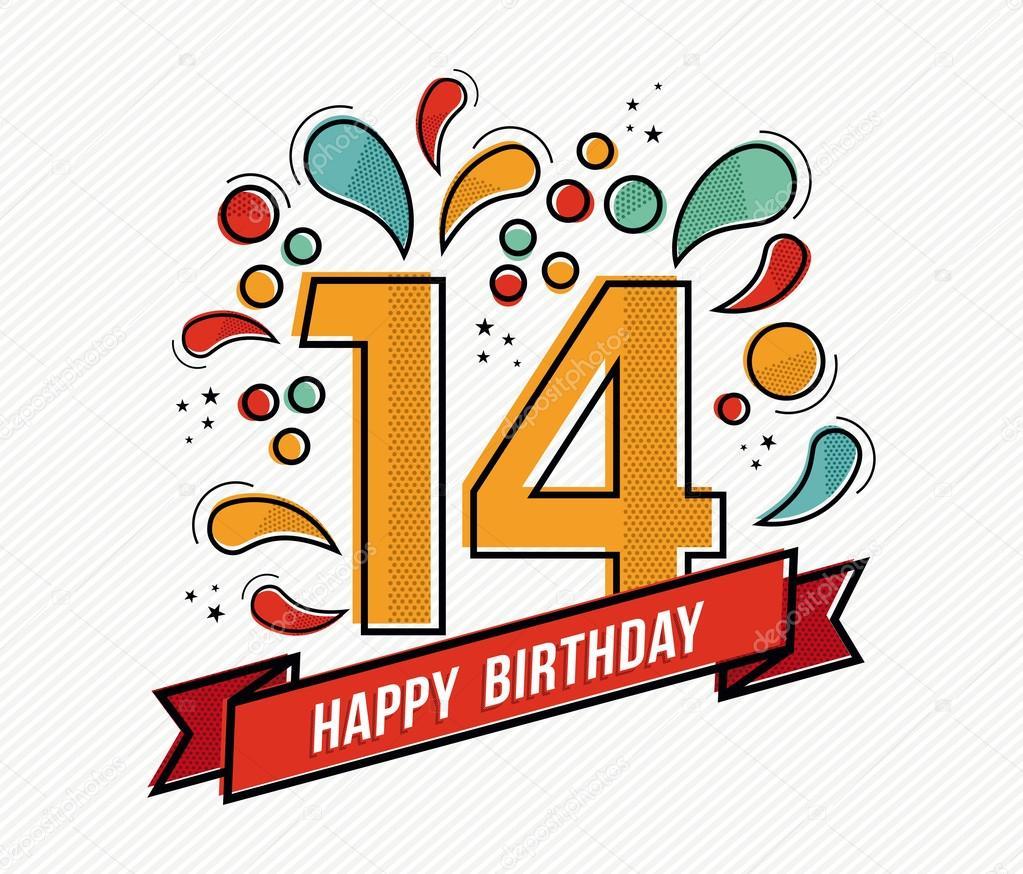 přání k 14 narozeninám Barevné Veselé narozeniny číslo 14 rovné linie designu — Stock  přání k 14 narozeninám