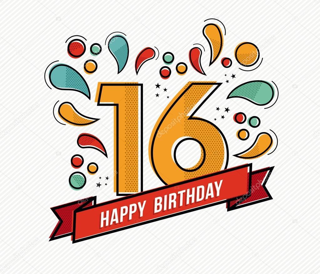 přání k 16 narozeninám Barevné Veselé narozeniny číslo 16 rovné linie designu — Stock  přání k 16 narozeninám