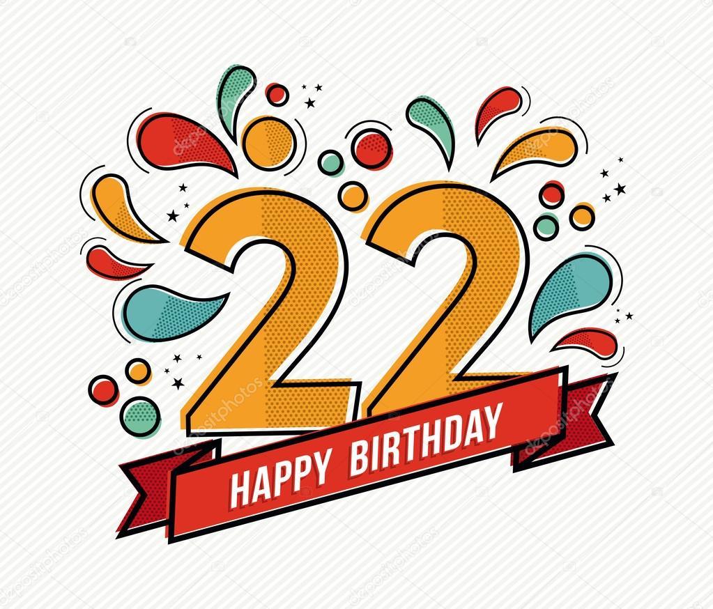 grattis på 22 årsdagen Färgglada födelsedagen nummer 22 platt linje design — Stock Vektor  grattis på 22 årsdagen