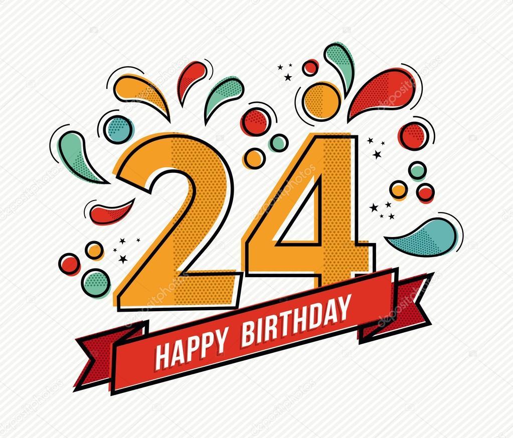Kleurrijke Gelukkige Verjaardag Nummer 24 Platte Lijn Ontwerp