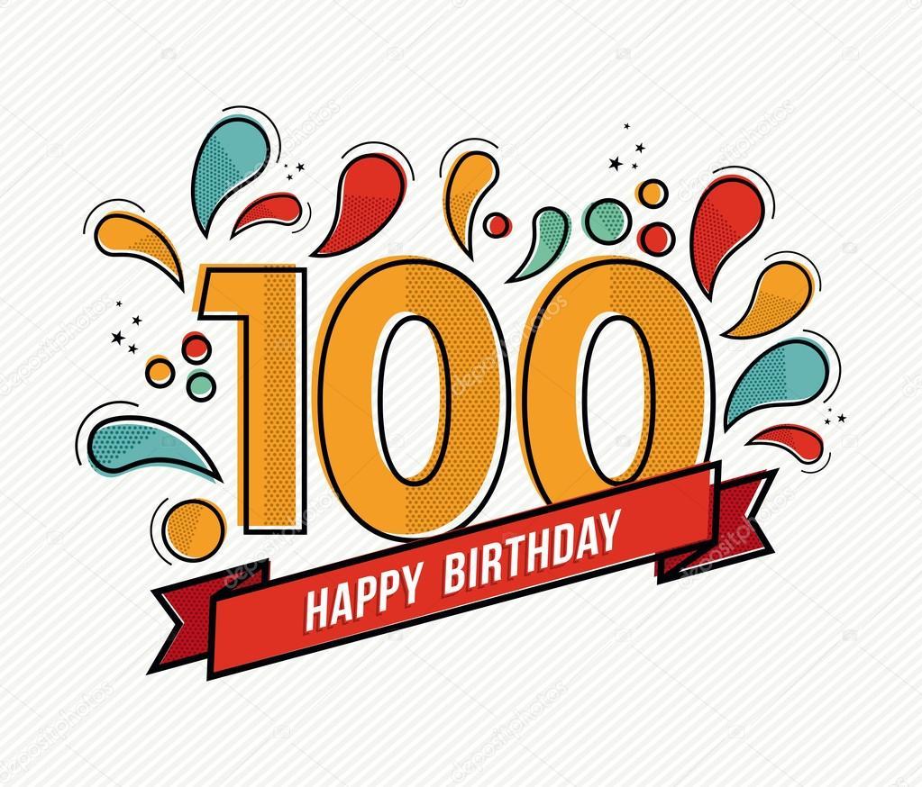 Diseño de línea plana color feliz cumpleaños número 100 — Archivo ...