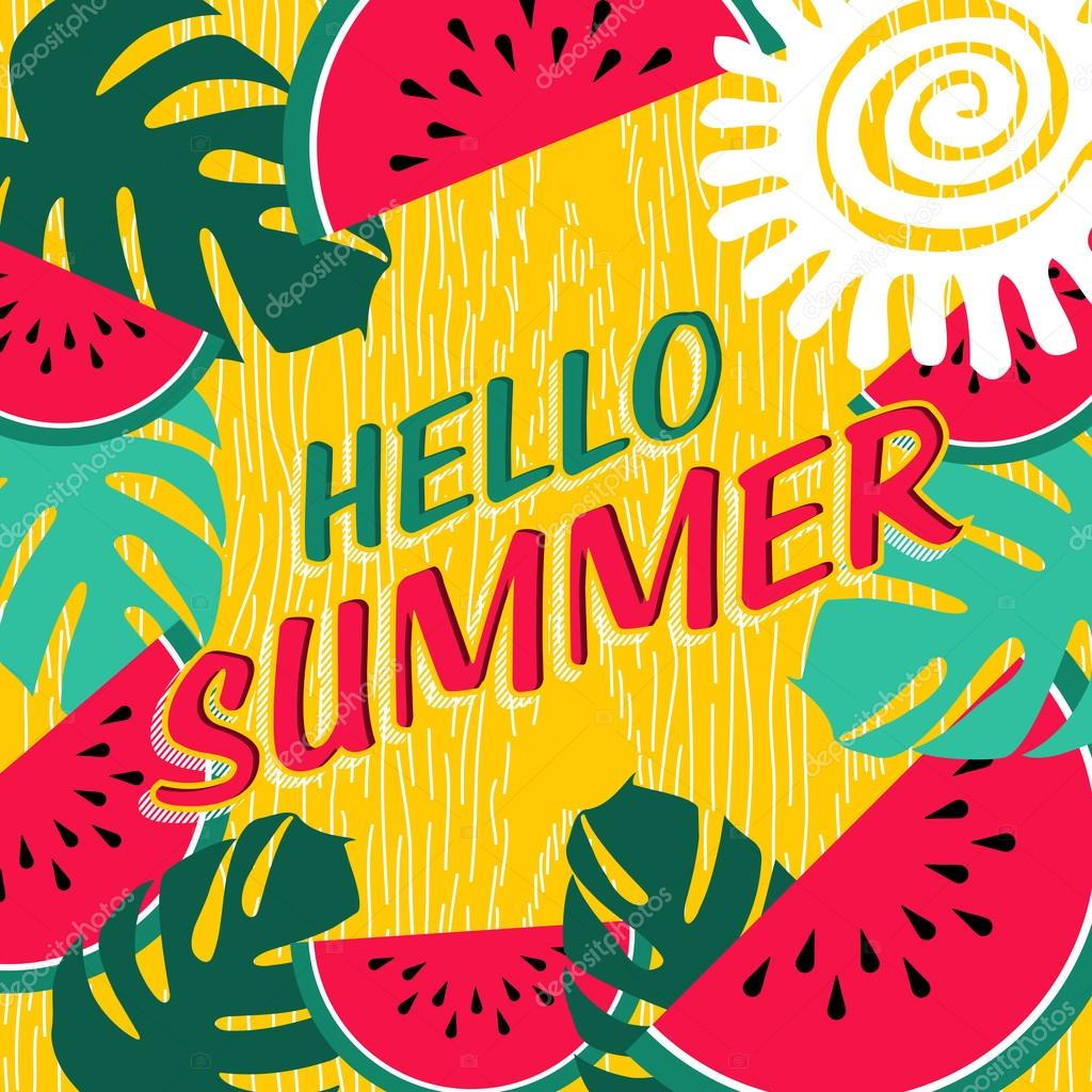 Hello Summer Vacation Poster With Fruit Nature Art Stock Vector
