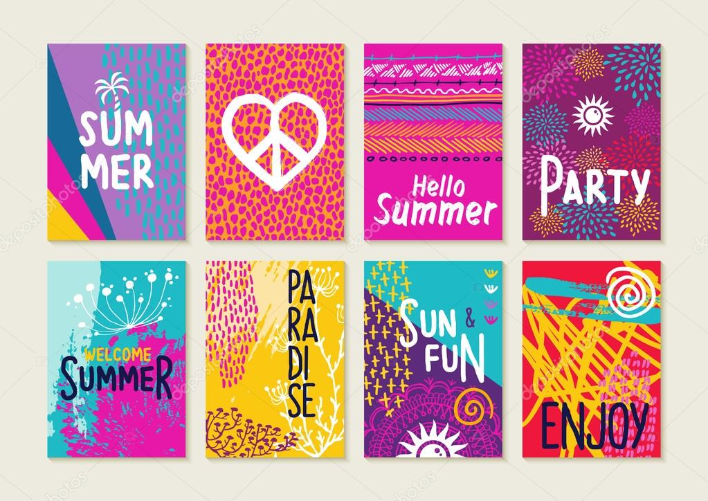 Set Of Happy Summer Party Invitation Greeting Cards. Creative Hand Drawn  Vacation Illustrations And Text Quotes For Label, Poster, Etc. EPS10 Vector.