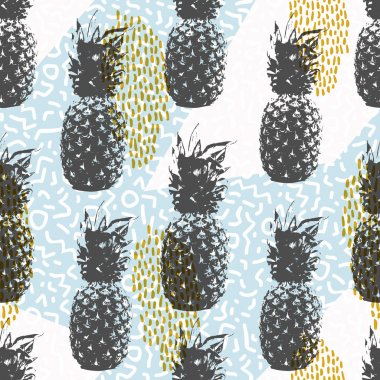 Retro 80s summer seamless pattern with pineapple