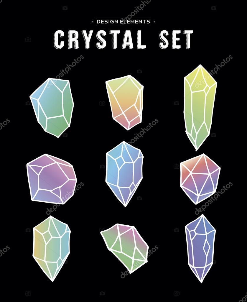 Simboli Anni 80.Anni 80 Crystal Set Di Icone Colorate E Simboli
