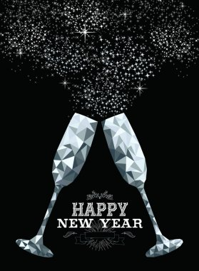 Happy new year toast glass low polygon silver