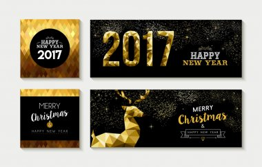 Merry christmas 2017 gold card and banner set