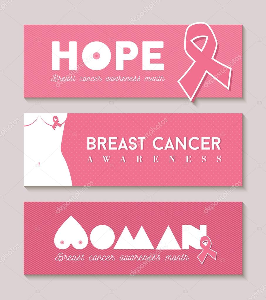 Breast cancer banner set with girl body silhouette — Stock Vector ...