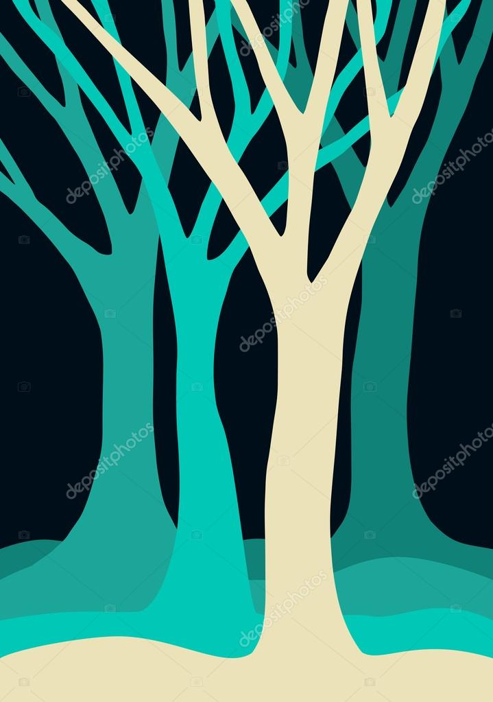 Blue tree silhouettes forest illustration