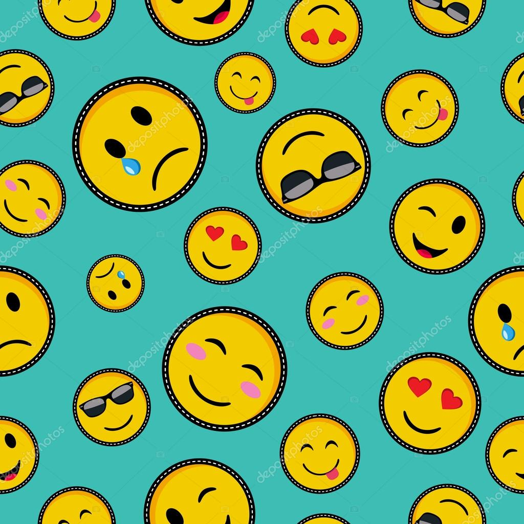 cute emoji designs seamless pattern  u2014 stock vector