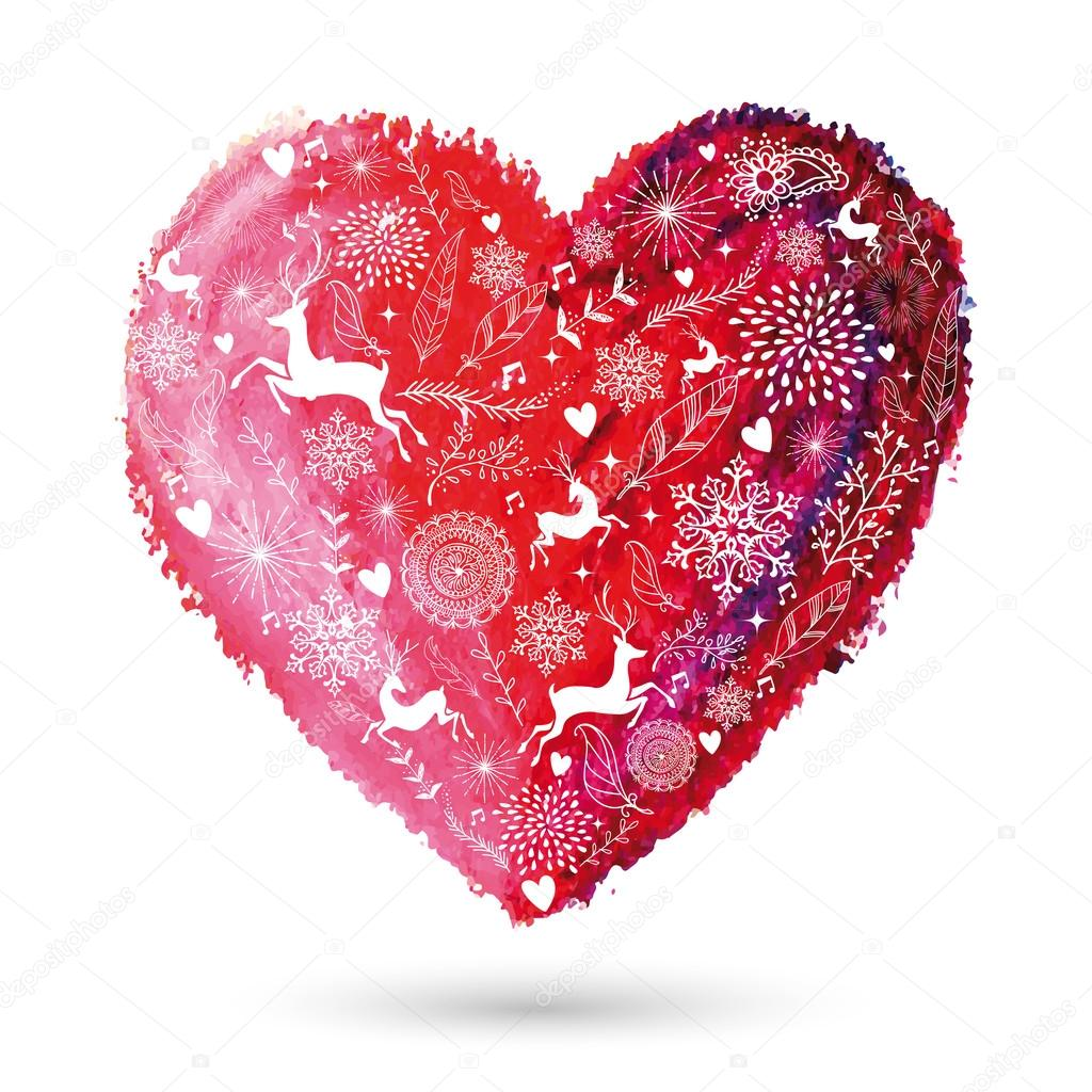 Christmas Love Heart Arty Greeting Card Stock Vector Cienpies