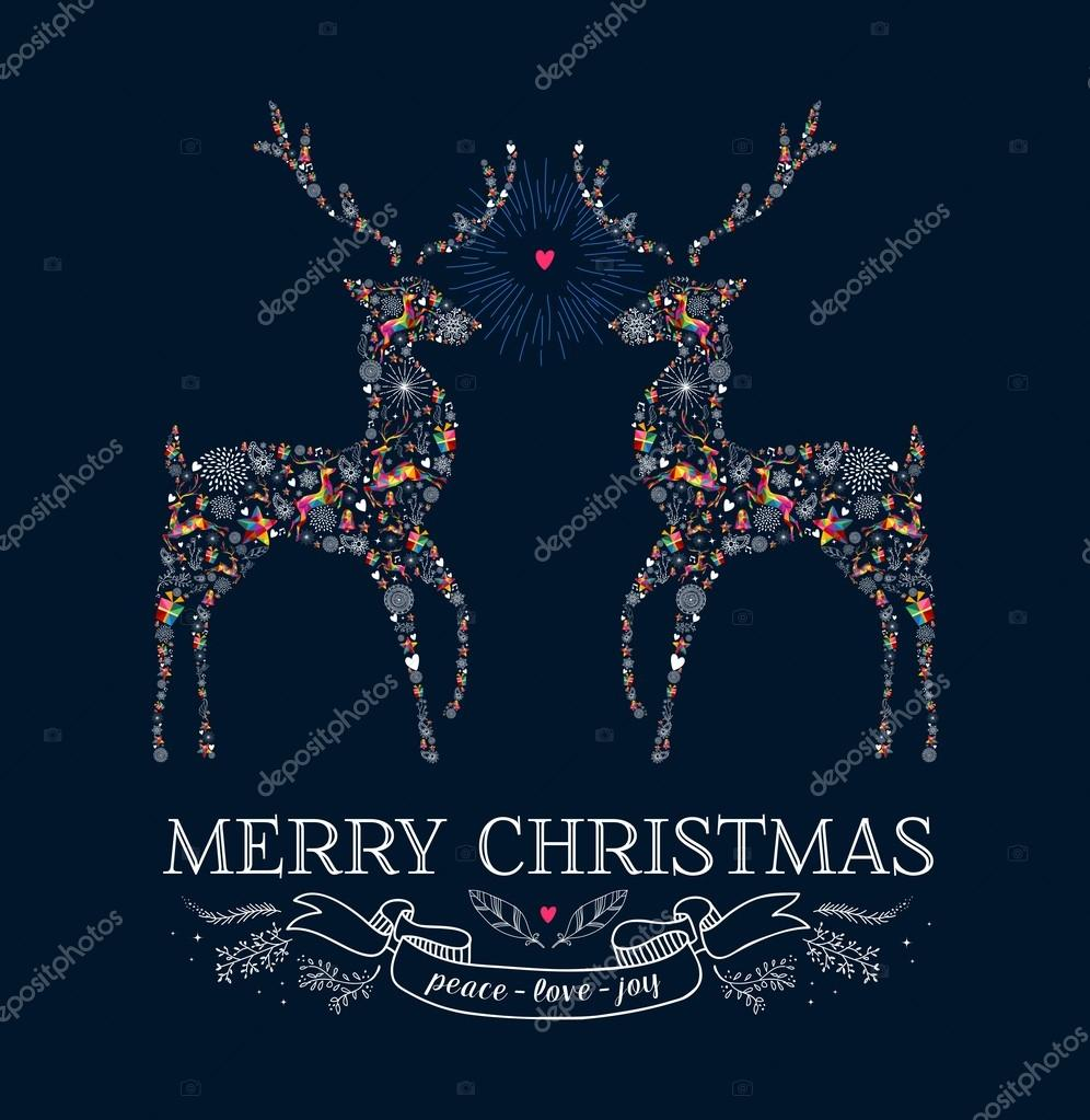 Christmas Love Reindeer Vintage Greeting Card Stock Vector
