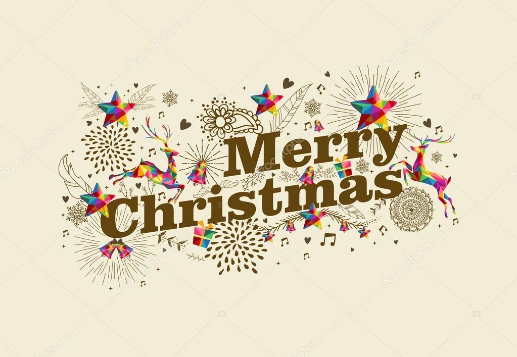 merry christmas vintage retro greeting card stock vector cienpies 55021729. Black Bedroom Furniture Sets. Home Design Ideas