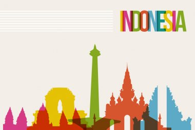 Travel Indonesia destination landmarks skyline background