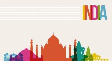 Travel India destination landmarks skyline background