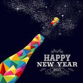 Neues Jahr 2015 Champagnerflasche Plakatentwurf
