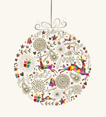 Vintage Christmas bauble greeting card