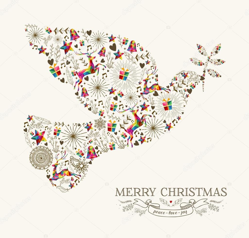 Vintage Christmas peace dove greeting card